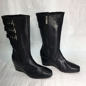 Harley Davidson D85121 Black Leather Wedge Boots